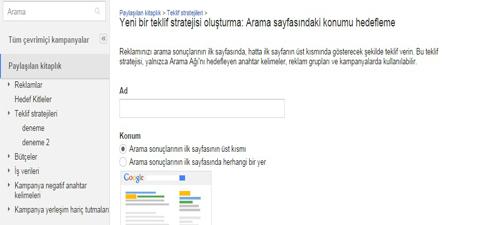 arama sayfasindaki konumu hedefleme - Google Adwords Teklif Stratejileri